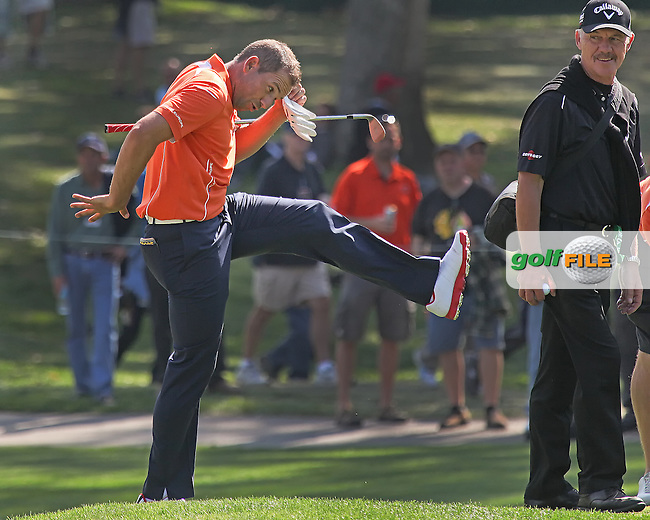 25 SEP 12  Sergio Garcia celebrates a chip in during Tuesdays Celebrity Scramble and practice Round at  The 39th Ryder Cup at The Medinah Country Club in Medinah, Illinois.