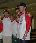"Guiding Light's Jerry verDorn (Ross), Kim Zimmer (Reva), Liz Kiefer (Blake), John Driscoll (Coop) and Tom Pelphrey (Johnathan) at the ""Bloss"" Bowling Event during the Guiding Light weekend on October 15, 2005 at the Port Authority, NY (Photo by Sue Coflin)"