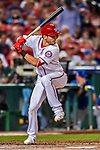 6 October 2017: Washington Nationals infielder Trea Turner in action during the first game of the NLDS against the Chicago Cubs at Nationals Park in Washington, DC. The Cubs shut out the Nationals 3-0 to take a 1-0 lead in their best of five Postseason series. Mandatory Credit: Ed Wolfstein Photo *** RAW (NEF) Image File Available ***