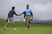 Peter O' Keeffe shakes hands with Aaron Edwards-Hill (Chlemsford) after the final of the North of Ireland Amateur Championship, Portstewart Golf Club, Portstewart, Antrim,  Ireland. 12/07/2019<br /> Picture: Golffile | Fran Caffrey<br /> <br /> <br /> All photo usage must carry mandatory copyright credit (© Golffile | Fran Caffrey)