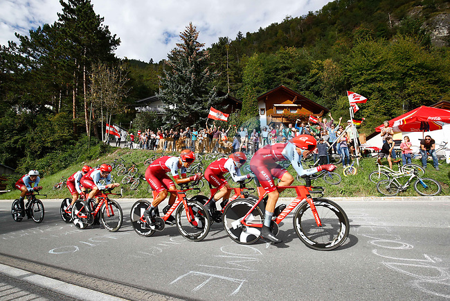 Team Katusha Alpecin in action during the Men's Elite Team Time Trial of the 2018 UCI Road World Championships running 62.8km from Ötztal to Innsbruck, Innsbruck-Tirol, Austria 2018. 23rd September 2018.<br /> Picture: Innsbruck-Tirol 2018 | Cyclefile<br /> <br /> <br /> All photos usage must carry mandatory copyright credit (© Cyclefile | Innsbruck-Tirol 2018)