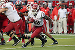Gerard Wicks, Washington State University running back, looks for a crease in the line during the Cougars first road test of the season against Big Ten foe Rutgers at High Point Solutions Stadium in Piscataway, New Jersey, on September 12, 2015.  WSU came back from a late deficit to go on a 90 yard touchdown drive to score the winning TD with 13 seconds left to get the win, 37-34.