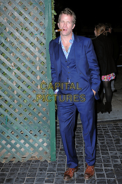 "Thomas Jane.""A Night of Firsts"" 2012 Golden Globe Award Season Kick-off Party held at Cecconi's, West Hollywood, California, USA..December 8th, 2011  .full length blue suit waistcoat hands in pockets leaning brown shoes .CAP/ADM/TB.©Trey Barney/AdMedia/Capital Pictures."