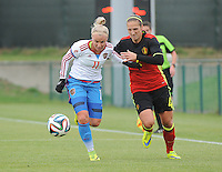 20161023 - TUBIZE , BELGIUM : Belgian Maud Coutereels (R) and Russian Ekatarina Sochneva (L)  pictured during a friendly game between the women teams of the Belgian Red Flames and Russia at complex Euro 2000 in Tubize , Sunday 23 October 2016 ,  PHOTO Dirk Vuylsteke | Sportpix.Be