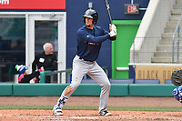 Cavan Biggio (6) of the New Hampshire Fisher Cats bats during a game against the Hartford Yard Goats at Dunkin Donuts Park on April 8, 2018 in Hartford, Connecticut.<br /> (Gregory Vasil/Four Seam Images)