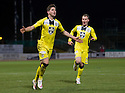 St Mirren's Kenny McLean (8) celebrates after he scores their third goal from the penalty spot.