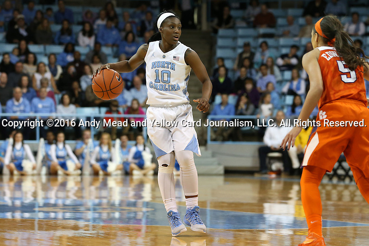 03 January 2016: North Carolina's Jamie Cherry (10) and Clemson's Danielle Edwards (5). The University of North Carolina Tar Heels hosted the Clemson University Tigers at Carmichael Arena in Chapel Hill, North Carolina in a 2015-16 NCAA Division I Women's Basketball game. UNC won the game 72-56.