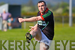 Ian Twiss Milltown-Castlemaine in action against  Saint Brendans in the First Round of the Kerry Senior Football Championship at Milltown on Sunday.