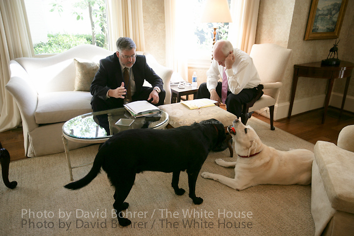 VP Cheney: meets with David Addington at VPR.  Dogs Dave and Jackson