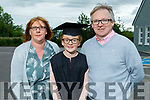 Sarah O'Rourke graduating from Scoil Nuachabháil NS in Ballymac on Thursday.<br /> standing with her parents Siobhan and John O'Rourke