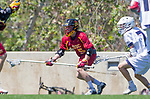 Los Angeles, CA 04/01/16 - Cole Roberson (USC #5) and Givino Rossini (Loyola Marymount #7) in action during the University of Southern California and Loyola Marymount University SLC conference game  USC defeated LMU.