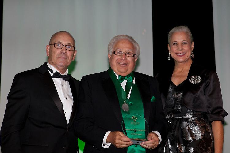 "Bill HIlyard, Charles ""Skip"" Vosler and Jennifer Neubauer at Ohio University Alumni Association's Annual Awards Gala at Baker University Center on October 11, 2013."