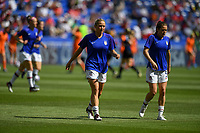 DECINES-CHARPIEU, FRANCE - JULY 07: Abby Dahlkemper #7, Kelley O'Hara #5 warming up prior to the 2019 FIFA Women's World Cup France Final match between Netherlands and the United States at Groupama Stadium on July 07, 2019 in Decines-Charpieu, France.