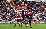 Billy Sharp of Sheffield Utd and Simon Francis of Bournemouth in action during the Premier League match at Bramall Lane, Sheffield. Picture date: 9th February 2020. Picture credit should read: Chloe Hudson/Sportimage