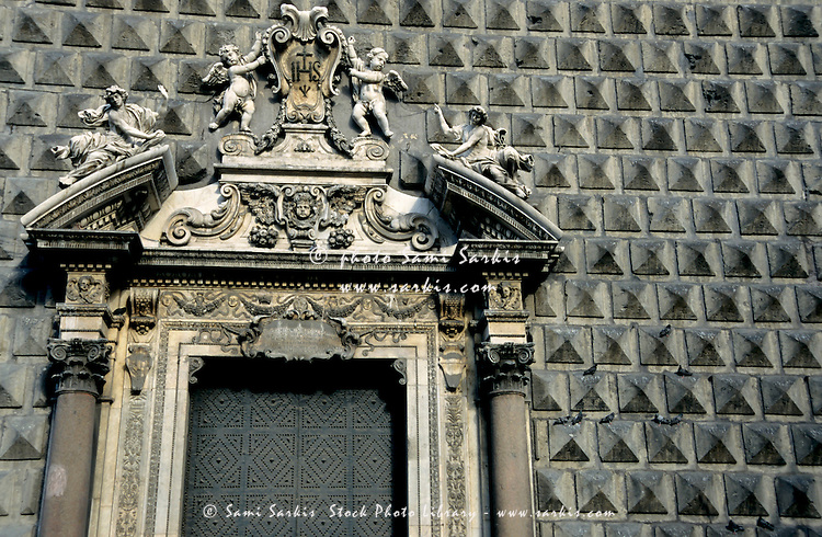 The unusual black tiled facade of the Gesù Nuovo, Naples, Italy.
