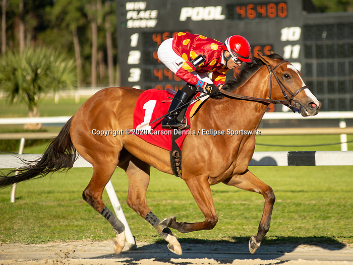 February 8, 2020: #1, Lucrezia gets Daniel Centeno his fifth win on the day's card in the $100,000 Suncoast Stakes for Trainer Arnaud Delacour on February 8, 2020 in Tampa, FL. (Photo by Carson Dennis/Eclipse Sportswire/CSM)