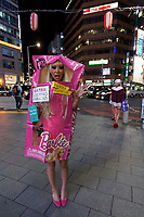 A Japanese woman dressed as a Barbie toy during the Halloween celebrations in Shibuya, Tokyo, Japan. Wednesday October 31st 2018 .  Halloween has grown massively popular  in Japan over the last few yers. Primarily an event for young adults who use it as a chance to dress up in inventive costumes and spend the night partying . In recent years the misbehaviour of some revellers has caused a heavier police presence on the street and  a push back from the Japanese society, and media  who see no need for nor benefits to this western cultural import.