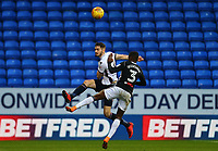 Bolton Wanderers' Dorian Dervite wins the ball against Ryan Sessegnon  <br /> <br /> Photographer Leila Coker/CameraSport<br /> <br /> The EFL Sky Bet Championship - Bolton Wanderers v Fulham - Saturday 10th February 2018 - Macron Stadium - Bolton<br /> <br /> World Copyright &copy; 2018 CameraSport. All rights reserved. 43 Linden Ave. Countesthorpe. Leicester. England. LE8 5PG - Tel: +44 (0) 116 277 4147 - admin@camerasport.com - www.camerasport.com
