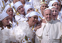 Pope Francis greets a group of Mexican faithful in a traditional dress during his weekly general audience in St. Peter`s Square,Vatican City,Vatican, 27 September 2017