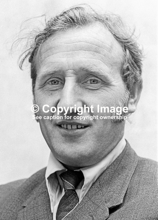 Desmond Gourley, Republican Clubs, candidate, Mid-Ulster, in 1973 N Ireland Assembly Election. 197300000441a.<br /> <br /> Copyright Image from Victor Patterson, 54 Dorchester Park, Belfast, UK, BT9 6RJ<br /> <br /> t1: +44 28 9066 1296 (from Rep of Ireland 048 9066 1296)<br /> t2: +44 28 9002 2446 (from Rep of Ireland 048 9002 2446)<br /> m: +44 7802 353836<br /> <br /> e1: victorpatterson@me.com<br /> e2: victorpatterson@gmail.com<br /> <br /> The use of my copyright images is subject to my Terms &amp; Conditions.<br /> <br /> It is IMPORTANT that you familiarise yourself with them. They are available on my website at www.victorpatterson.com.<br /> <br /> None of my copyright images may be used on a website unless they are visibly watermarked, i.e. &copy; Victor Patterson within the body of the visible image. Metadata denoting my copyright must NOT be deleted. <br /> <br /> Web use (maximum size - 400 kb) is extra at currently recommended NUJ rates.