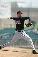 David Pauley of the Lake Elsinore Storm pitches during a 2004 season California League game against the Lancaster JetHawks at The Hanger in Lancaster, California. (Larry Goren/Four Seam Images)