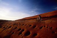 Mountain biker riding by wildly pocketed slickrock slope at sunset, Bartlet Wash, Moab, Utah