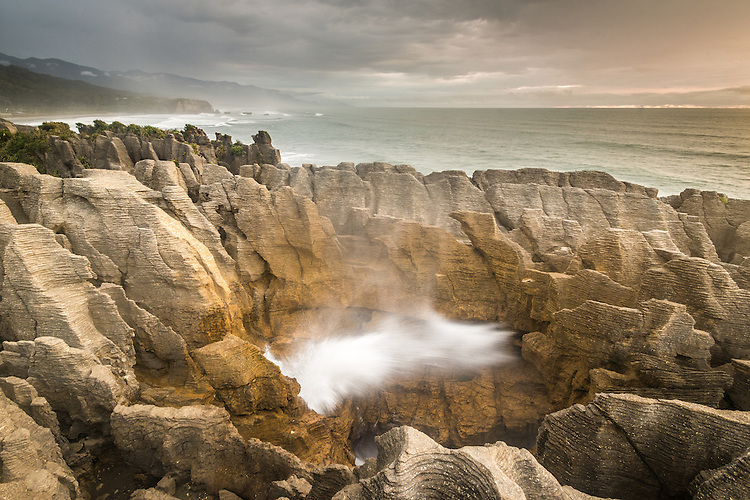 Blowhole at the punakaiki pancake rocks. West Coast New Zealand - stock photo, canvas, fine art print