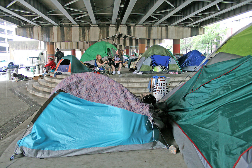 Post Katrina homeless camp under freeway New Orleans Louisiana