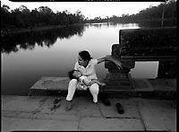 Angkor, Cambodia, December 2006..Dusk near Angkor Wat temple.