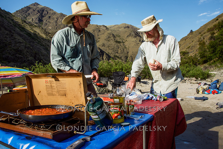 Outdoor cooking on the river rafting trip, the Lower Salmon River, central Idaho