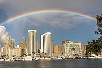 Rainbow over Waikiki at Ala Wai Harbor, Honolulu