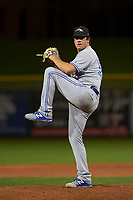 Peoria Javelinas relief pitcher Andrew Case (50), of the Toronto Blue Jays organization, delivers a pitch to the plate during an Arizona Fall League game against the Scottsdale Scorpions on October 20, 2017 at Scottsdale Stadium in Scottsdale, Arizona. the Javelinas defeated the Scorpions 2-0. (Zachary Lucy/Four Seam Images)