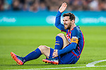 Lionel Andres Messi of FC Barcelona sits on the pitch injured during their Copa del Rey 2016-17 Semi-final match between FC Barcelona and Atletico de Madrid at the Camp Nou on 07 February 2017 in Barcelona, Spain. Photo by Diego Gonzalez Souto / Power Sport Images
