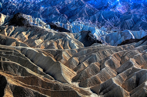 Erosion has produced The Badlands at Death Valley National Park