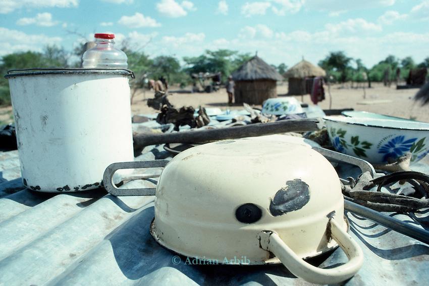 San village.  Tchumkwe, Bushman land, Namibia