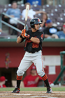 San Jose Giants third baseman Jose Flores #19 bats against the Inland Empire 66'ers at Arrowhead Credit Union Park on August 1, 2011 in San Bernardino,California. San Jose defeated Inland Empire 2-1.(Larry Goren/Four Seam Images)