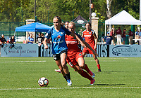 Kansas City, MO - Saturday May 13, 2017:  Brittany Ratcliffe , Amandine Henry, during a regular season National Women's Soccer League (NWSL) match between FC Kansas City and the Portland Thorns FC at Children's Mercy Victory Field.