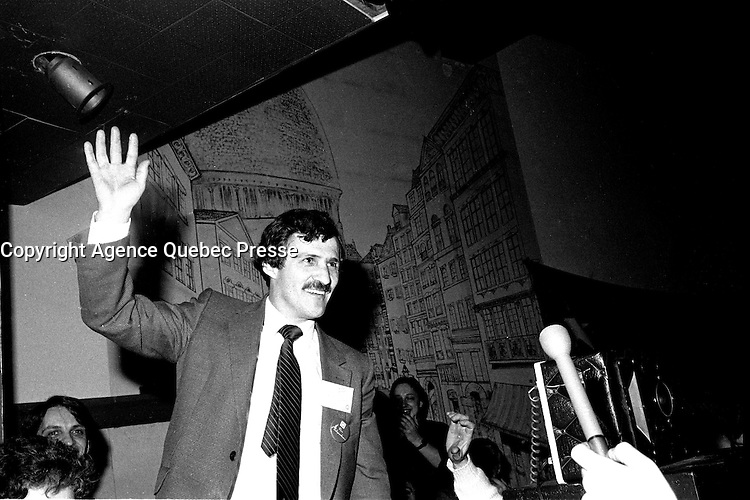 January 19, 1985 File Photo - Parti Quebecois extraordinary Convention. It is during that convention that a group of hardcore separatist named '' Les Orthodoxes'' left the PQ.