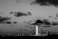 "NATAL, BRAZIL - FEBRUARY 10, 2014: The 30 metre viewing platform, designed by Oscar Niemeyer Brazil's world famous architect, is seen at the Parque da Cidade Dom Nivaldo Monte on February 10, 2014 in Natal, Brazil. Parque da Cidade Dom Nivaldo Monte, colloquially known as Parque da Cidade, ""City Park"" is a park in Natal, Rio Grande do Norte, Brazil. The park's main attraction a 30m viewing platform was designed by world famous architect Oscar Niemeyer. The park inaugurated in 2008 has been abandoned since.   <br /> <br /> Daniel Berehulak for The New York Times"