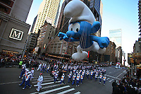 USA, NEW YORK, November 24, 2011.A Smurf balloon floats in 7 Avenue while American celebrated the Macy's Thanksgiving day parade in New York, November 24,2011. VIEWpress / Kena Betancur.The Macy's parade is considered by many to be the official start of the holiday season. Balloons, bands and dignitaries trooped through midtown Manhattan Thursday morning for the 85th annual Macy's Thanksgiving Day Parade. Media Reported.