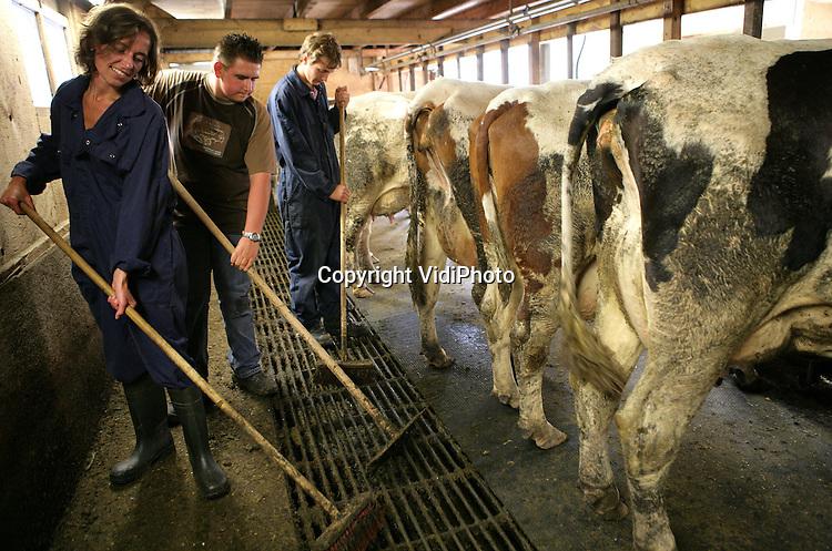 Foto: VidiPhoto..RHENEN - Vakantiebaantje Corine Bruggink samen met Gerard de Jong (r) op de boerderij van Gert van Laar uit Rhenen.