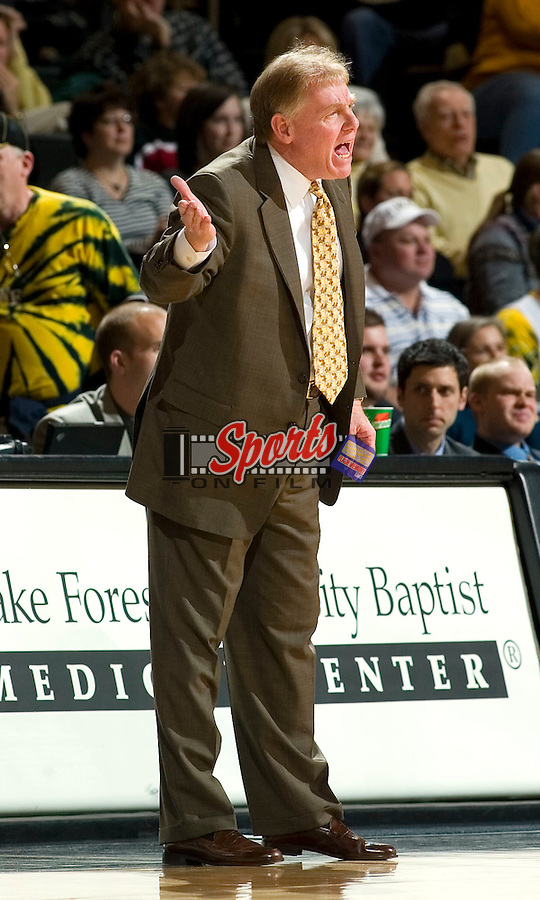 Wake Forest head coach Skip Prosser questions an officials call during first half action versus Maryland at the LJVM Coliseum in Winston-Salem, NC, Saturday, February 3, 2007.  The Terrapins defeated the Demon Deacons 79-72.