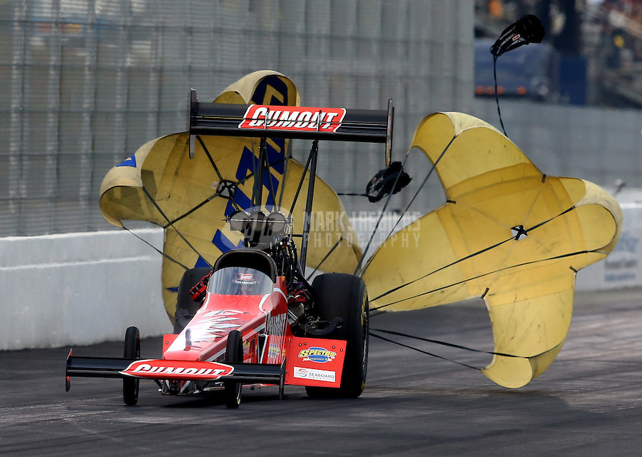 Feb 8, 2014; Pomona, CA, USA; NHRA top fuel dragster driver Leah Pritchett during qualifying for the Winternationals at Auto Club Raceway at Pomona. Mandatory Credit: Mark J. Rebilas-