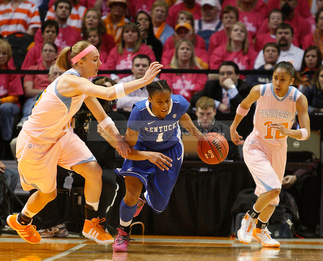 UK guard A'dia Mathies tries to get past her defender during the first half of the UK Women's basketball game against University of Tennessee on 2/13/12 in Knoxville, Tn. Photo by Quianna Lige | Staff