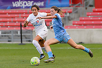 Chicago, IL - Saturday July 30, 2016: Molly Menchel, Arin Gilliland during a regular season National Women's Soccer League (NWSL) match between the Chicago Red Stars and FC Kansas City at Toyota Park.