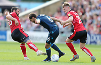 Bristol Rovers' Edward Upson under pressure from Lincoln City's Michael Bostwick (left) and Callum Connolly<br /> <br /> Photographer Rich Linley/CameraSport<br /> <br /> The EFL Sky Bet League One - Lincoln City v Bristol Rovers - Saturday September 14th 2019 - Sincil Bank - Lincoln<br /> <br /> World Copyright © 2019 CameraSport. All rights reserved. 43 Linden Ave. Countesthorpe. Leicester. England. LE8 5PG - Tel: +44 (0) 116 277 4147 - admin@camerasport.com - www.camerasport.com