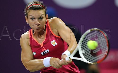 15 02 2012  Doha, Qatar.  Simona Halep of Romania Returns The Ball to Daniela Hantuchova of Slovakia during their 1st Round womens single match.   Dohar Open Tennis Tournament, Qatar.