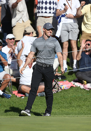 21.02.2016. Pacific Palisades, California, USA.  Rory McIlroy reacts after making a birdie putt on the 18th hole  during the fourth round of the Northern Trust Open at Riviera Country Club in Pacific Palisades, CA.