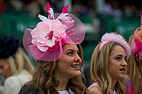 LOUISVILLE, KY - MAY 05: A woman wears a fascinator on Kentucky Oaks Day at Churchill Downs on May 5, 2017 in Louisville, Kentucky. (Photo by Douglas DeFelice/Eclipse Sportswire/Getty Images)