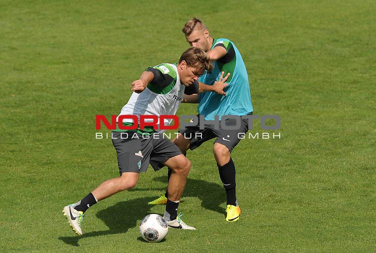 31.07.2013, Trainingsgelaende, Bremen, GER, 1.FBL, Training Werder Bremen, im Bild Clemens Fritz (Bremen #8), Florian Hartherz (Bremen #26)<br /> <br /> Foto &copy; nph / Frisch